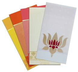a classy and elite lotus design invitation on light cream color shimmery finish sheet with trans