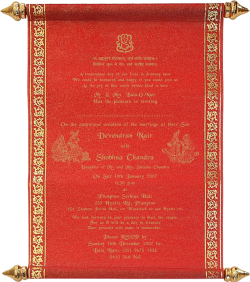 hindu printed samples, Wedding invitations