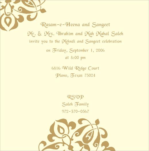 Sangeeth And Mehndi Ceremony Invitation : Mehandi printed samples
