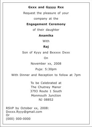 Engagement Ceremony Invitation Wordings,Engagement Ceremony