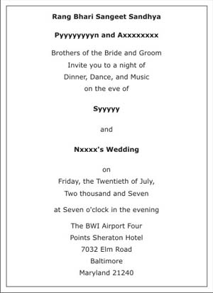 Wedding Sangeet Ceremony Invitation Wordings Sangeet