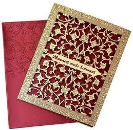 This Miraculously Designed Maroon Invitation Card Is Sheer Grace And Elegance The Ca