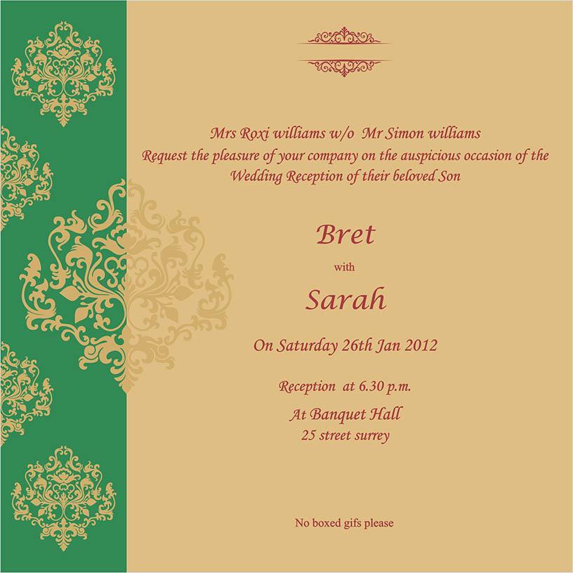 Indian Wedding Invitation Format In English: Indian Wedding Cards