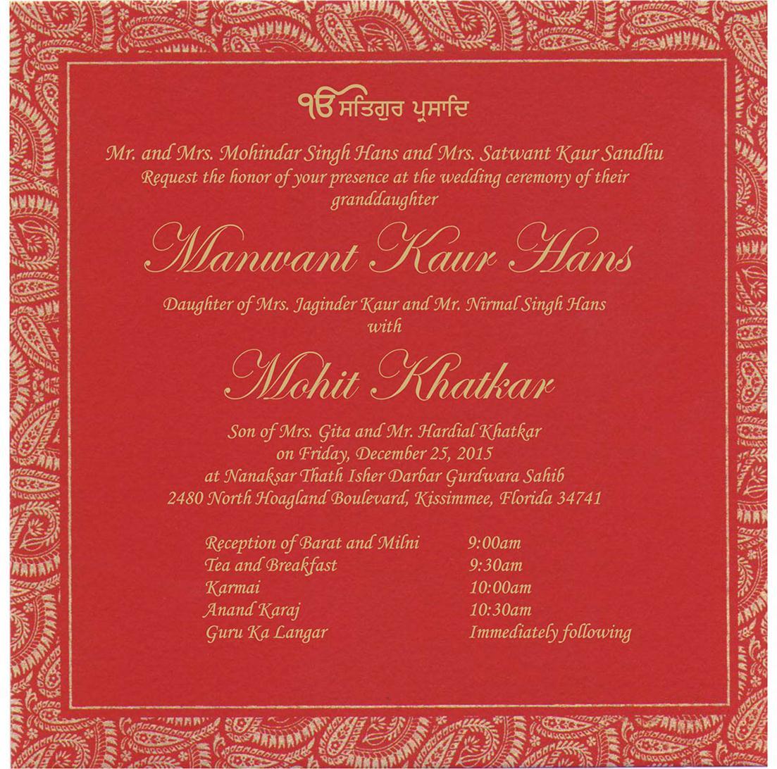 Indian Wedding Cards - US-2827