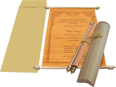 The Luxurious Quality Of Royal Look Scroll Invitation Available In An  Impressive Palette Of Oran .