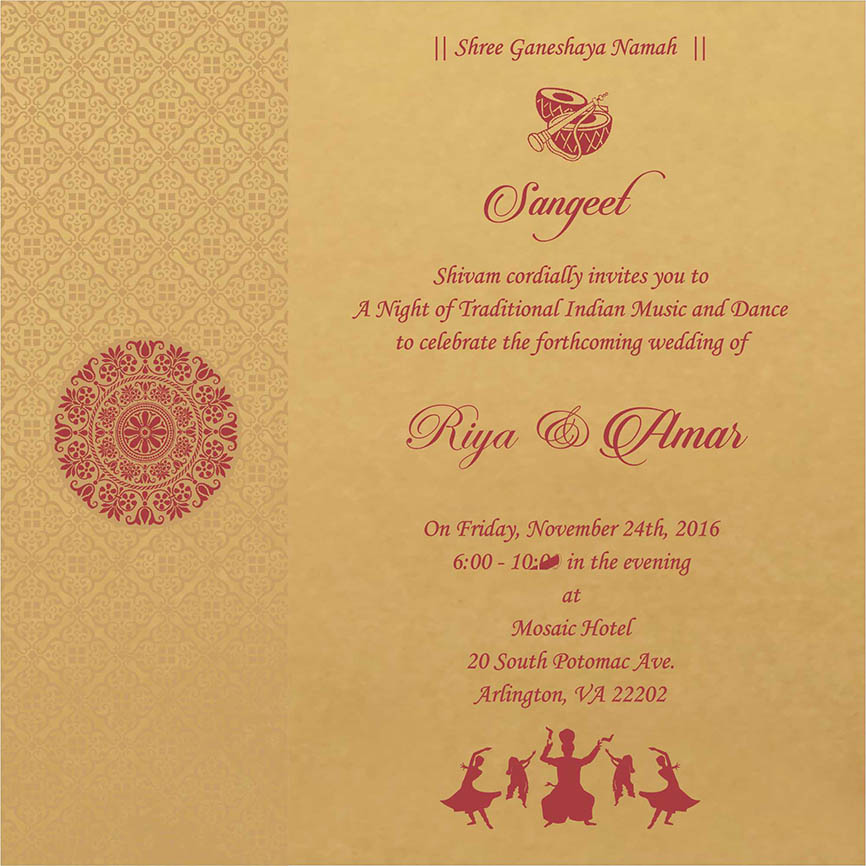 Indian Wedding Reception Invitation Quotes: Sangeet Printed Samples