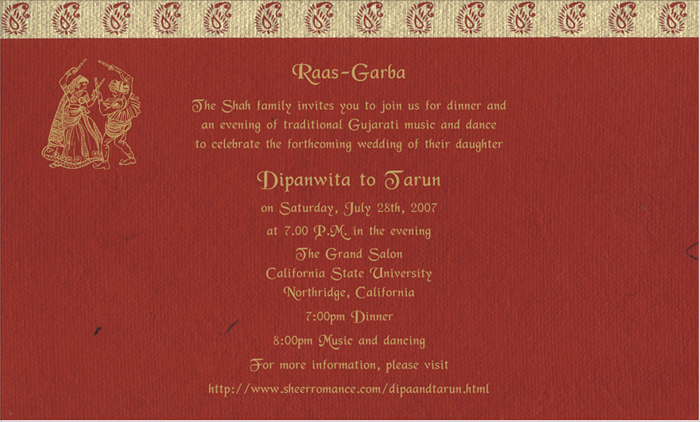 Wedding Invitation Wording English: Ras Garba Printed Samples