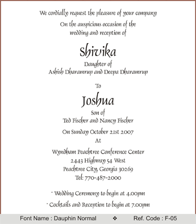 Wedding invitation fonts click to view sample stopboris Choice Image