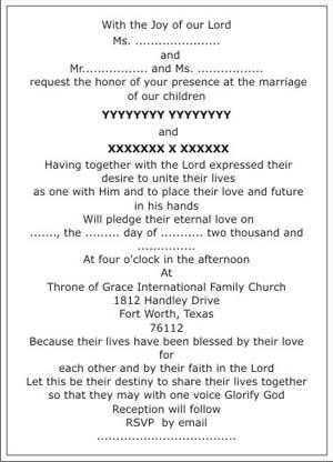Christian Wedding Invitation WordingsChristian Wedding Wordings - Christian wedding invitation wording