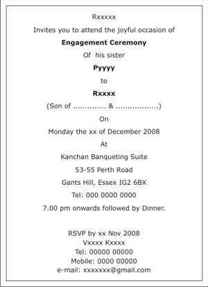 Engagement Ceremony Invitation WordingsEngagement Ceremony Wordings