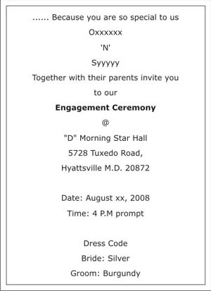 Engagement Ceremony Invitation WordingsEngagement Ceremony