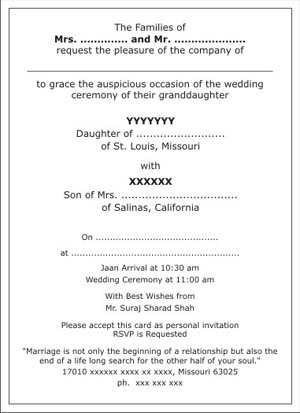 Hindu wedding invitation wordingshindu wedding wordingshindu text sample 2 stopboris Images