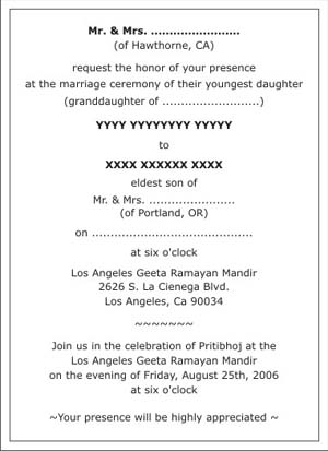 Hindu wedding invitation wordingshindu wedding wordingshindu text sample 8 filmwisefo