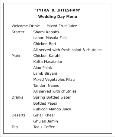 Wedding Menucard Wordings,Menu Card Wordings,Wedding Menucard Text