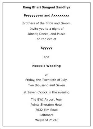 Wedding sangeet ceremony invitation wordingssangeet ceremony text sample 2 stopboris Gallery