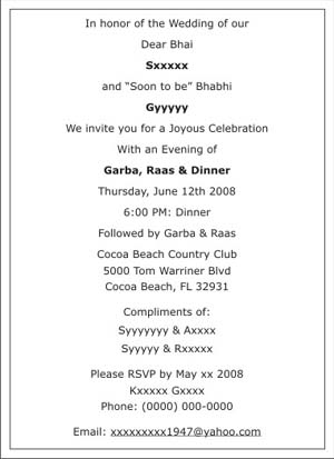 Wedding Sangeet Ceremony Invitation Wordings Sangeet