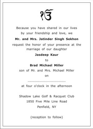Sikh Wedding Invitation Wordings Sikh Wedding Wordings
